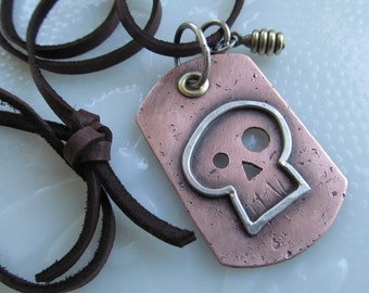 Unisex SKULL Dog Tag Necklace Copper and Silver Riveted Pendant Long Leather HalloweenNecklace