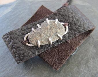 Unisex Adjustable CUFF Bracelet Silver Beach Stone Rough Brown Leather Bracelet