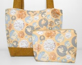 Globe Purse Set with Cosmetic Pouch and Pocket Mirror Medium Tan Tote Bag Set with Pockets