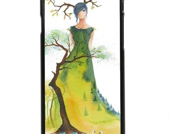 """Phone Case """"Eternity"""" - Trees Mountains Forest Lady Watercolor Art Painting By Olga Cuttell"""