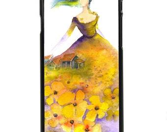 "Phone Case ""Spring Breeze"" - Meadow, Farmhouse, Hawk, Spring Lady, Yellow Flowers By Olga Cuttell"