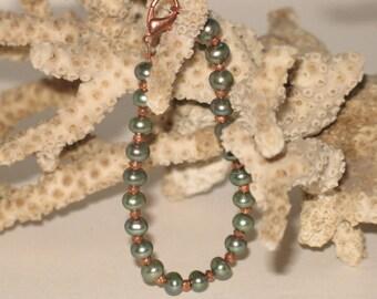 Pearl & Rose Pyrite Bracelet