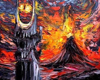 LOTR Mordor Art - Mount Doom CANVAS print van Gogh Never Saw The Land Of Shadow Aja 8x8, 10x10, 12x12, 16x16, 20x20, 24x24, 30x30 choose