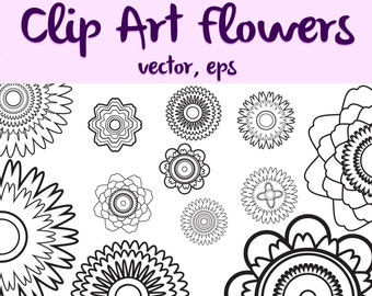 Funky Zentangle Flowers Coloring Page Vector AI EPS Clip Art Digital Download by Candace Byington