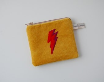 Yellow Velvet Coin Purse - with Lightning Bolt Design Red and Pink Wool Applique