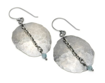 Hammered Sterling Earrings with Apatite Chain