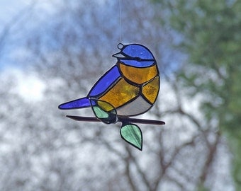 Stained Glass Bluebird - Recycled Glass Bluebird - Eco Friendly Nature Gift