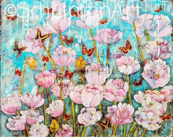 flower paintings | Floral PRINT | pink flowers | butterfly art | mixed media art | collage art | teal turquoise blue | Peony garden painting