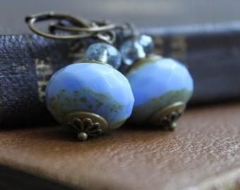 Beaded Earrings- Cornflower Blue Czech Glass Beads, Faded Denim, Vintage Style, Gifts for Her