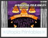 Candy Corn Zombie Halloween Party Invitation Creepy Cute Kawaii Funny Black Purple Orange Printable Digital Custom DIY