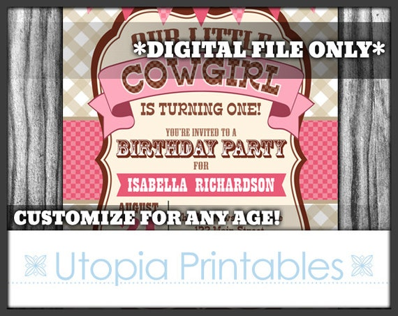 Our little cowgirl 1st birthday invitation cute turning one first il570xn filmwisefo
