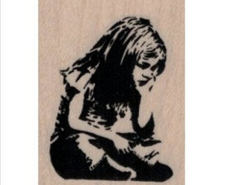 rubber stamp Banksy Child Sitting   number 19940 stamping supplies