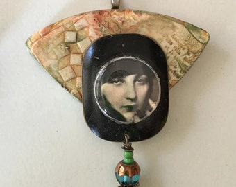 Clay pendant woman beads  Artisan Jewelry assemblage  OOAK  watch parts, crystal, ephemera, black and white movie stars