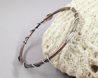 Rustic Chic Mixed Metal Bangle Bracelet, Copper and Sterling Silver Bracelet, Artisan Handcrafted Hammer Textured Entwined Leaf Design