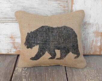 The Black Bear -  Burlap Feed Sack Doorstop -Bear Door Stop - Rustic Cabin Decor - Woodland animals - black bear decor