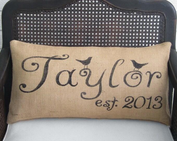 Personalized Bird Letter Name and Est. Date - Burlap Pillow Lumbar Style - Bird Pillow - Name Pillow - Est. Pillow  Date Pillow  Love birds