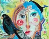 Original Mixed Media Painting - Blackbird - contemporary modern abstract fantasy portrait art