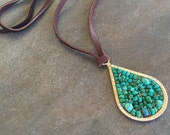 Chocolate leather and green turquoise pendant necklace.