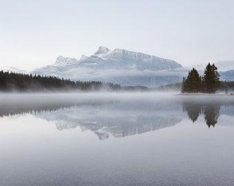 Fine Art Photography, Rocky Mountains Print, Nature Photography, Banff Landscape, Fog, Lake, Large Wall Art Print - Silver Stillness