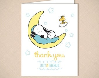 snoopy and woodstock stork cute baby shower invitation