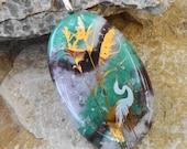 Beach Jewelry, Heron Pendant, Fused Glass Nature Pendant, Stone Look Glass Pendant, Ocean Scene, Oval Glass Pendant, Green and Pink Pendant