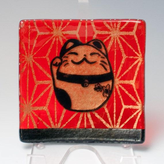 Maneki Neko Fused Glass Catch-all Dish