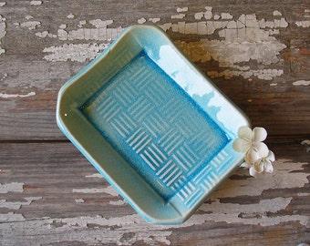 SALE - Pottery Soap Dish - Aqua Crystal Glaze - Cross Hatch Pattern - Handmade Soap Dish - Extra Large Soap Dish