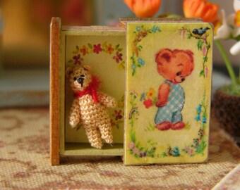 Muffa's - Micro Miniature Crochet Bear in a Storybook
