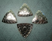 Tribal Triangle Cabochon Setting Vintage Style Silver Tone Jewelry Charms on Etsy x 4