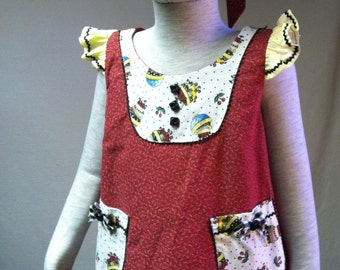 Girls' red pullover dress with matching headband size 2
