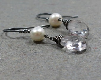 Crystal Quartz Earrings White Pearl Earrings Oxidized Sterling Silver Earrings Dangle Earrings