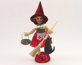 Spun Cotton Vintage Style Halloween Red Witch Figure