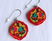 Textile Art Earrings//wires or posts//Meg Hannan//fabric millefiori artwork//CARMEN MIRANDAS HAT//pierced dangle//Red Magenta Teal//Rag Sky