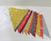 Mustard, Coral, Gray, Red Bunting Custom decoration. Fabric sewn flag Banner. Photo prop. 12 Pennant flags Mantle place