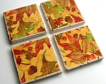 Tumbled Stone Earth Coasters - Autumn Leaves, Acorns, and Berries - art papers, Fall, leaf, tiles, home decor, natural, home, hostess gift