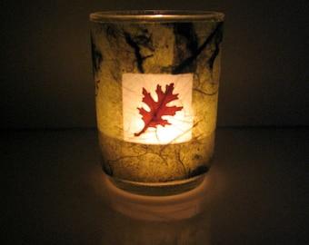 Real Autumn Oak Leaf Earth Light - botanical candle, candle holder, leaf candle holder, pressed leaf, Autumn, natural, woodland, glass, ooak