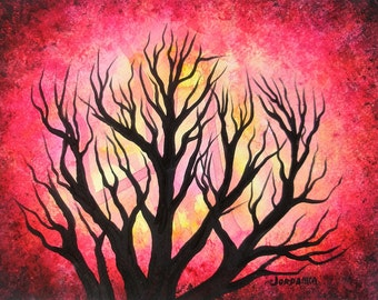 Tree Painting, Red forest, Original fine art, Acrylic TREES painting