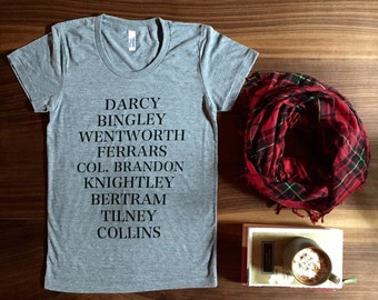 Jane's Men T-shirt - characters from Jane Austen's novels - women's and unisex sizes