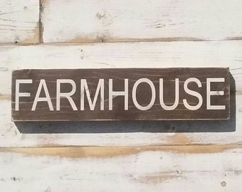 FARMHOUSE | white on dark wood | handpainted wood sign | Gallery Wall | encouragement home decor | 3.5x15 inches | made to order plank sign