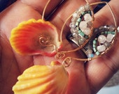 Sunrise Shell Earrings with Noe Gemstone Mandala in Gold Fill, faceted labradorite, Turquoise and Moonstone