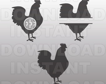 Chicken SVG File,Rooster SVG File Cutting Template-Monogram Clip Art for Commercial & Personal Use-Cricut,SCAL,Cameo,Silhouette,Decal,Vinyl