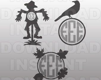 Scarecrow Monogram SVG File,Farming svg -Personal & Commercial Use- cricut svg,silhouette svg,svg cuts,vector svg,vinyl files,tshirt svg
