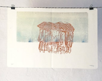 Ready to wear - Original Linocut Print - LIMITED EDITION of 10 - 25x38 cm // OOAK