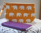 Clutch Wristlet Zipper Gadget Pouch Tiny White Elephants on Parade in Orange