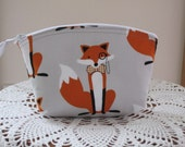 Essental Oil case Wedding Bridal Clutch Cosmetic Bag  Purse Fox and The Houndstooth Foxes  Made in USA