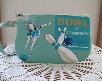 Bowling Bag Wristlet Zipper Gadget Pouch Kitsch Retro Vintage