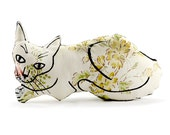 decorative pillow, cat pillow, animal pillow, relaxed cat shaped medium pillow floral fabric