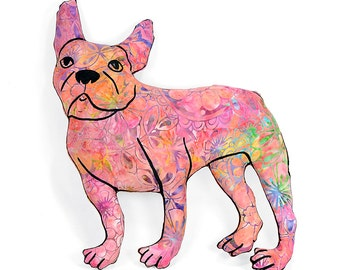 french bulldog shaped large decorative pillow mostly pink tie dye batik fabric hand drawn plush animal softie