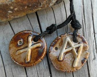 Elder Futhark Rune Beads Handmade Ceramic