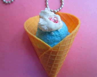 Blue Raspberry Cone topped with whipped Cream